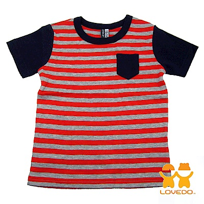【LOVEDO-艾唯多童裝】悠閒時刻 拼色條紋短袖T恤 (橘灰)