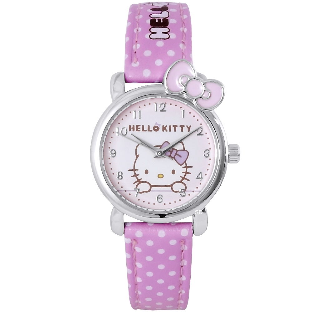 HELLO KITTY 凱蒂貓甜美蝴蝶結手錶-粉/27mm