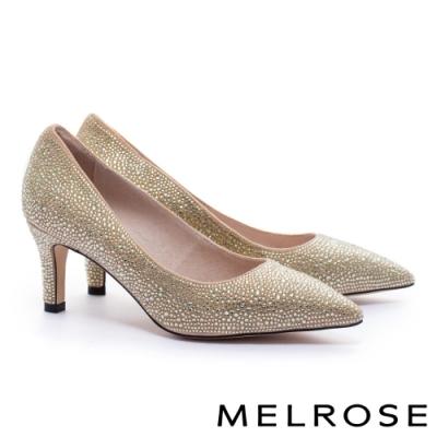 高跟鞋 MELROSE 時髦迷人閃耀水鑽羊麂布尖頭高跟鞋-金