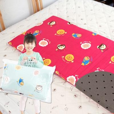 奶油獅-同樂會系列-100%精梳純棉嬰兒備長碳記憶床墊-苺果紅60x120cm