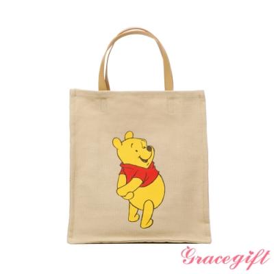 Disney collection by grace gift-迪士尼小熊維尼圖案帆布方包 卡其