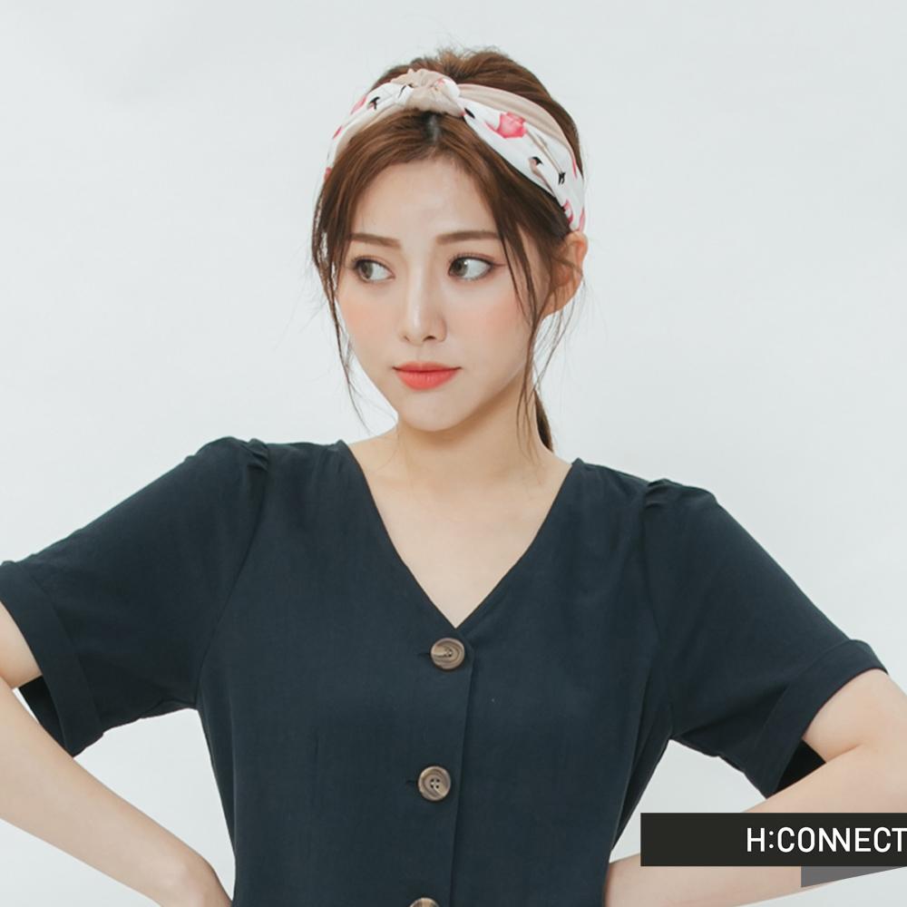 H:CONNECT 韓國品牌 -雙色紅鶴髮帶