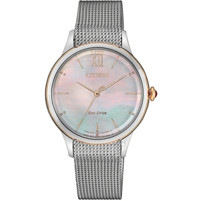 星辰CITIZEN L廣告款自信之美光動能女錶(EM0816-88Y)-銀