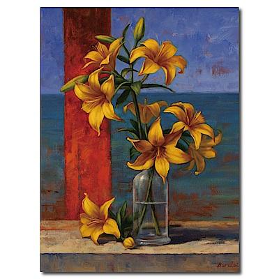 橙品油畫布-單聯式直幅 掛畫無框畫 黃百合 30x40cm