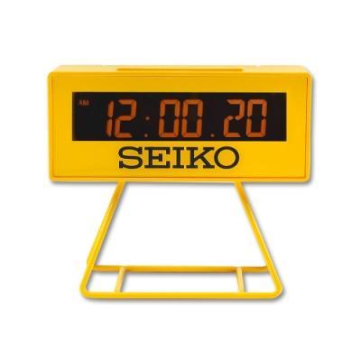 SEIKO 精工 / 日期 計時 貪睡鬧鈴 可拆座架 長方形鬧鐘 電子鐘-黃色