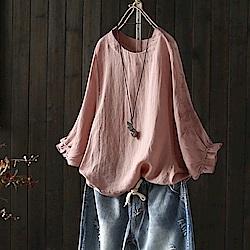 七分袖刺繡喇叭袖棉麻T恤花瓣袖罩衫上衣-設計所在