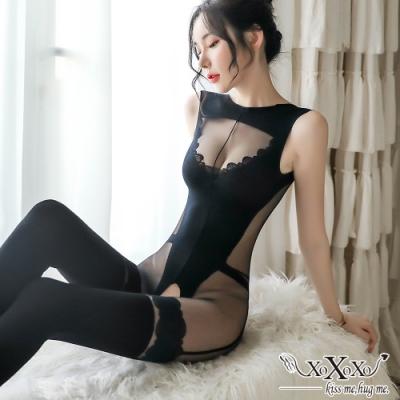 貓裝網衣 蕾絲幻想開襠連身貓裝 挑逗黑 XOXOXO