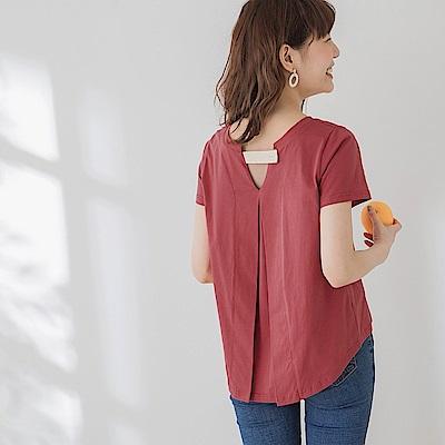 高含棉純色背後打褶鏤空層次拼接休閒短袖上衣-OB嚴選