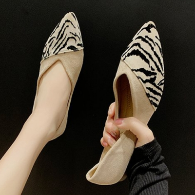 KEITH-WILL時尚鞋館 賣瘋了輕甜動物紋平底鞋-米色豹紋