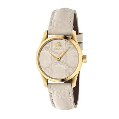 GUCCI G-TIMELESS獨特時尚皮帶腕錶28mm(YA126580)