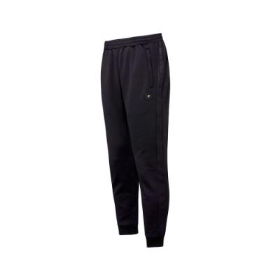 FILA 男吸濕排汗刷毛長褲-黑色 1PNT-5476-BK