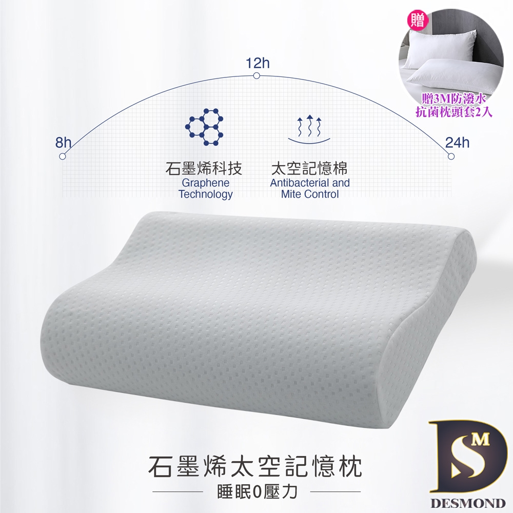 岱思夢 台灣製 石墨烯太空記憶枕2入 人體工學設計 高密度記憶棉 慢回彈 枕頭 枕芯 多款任選