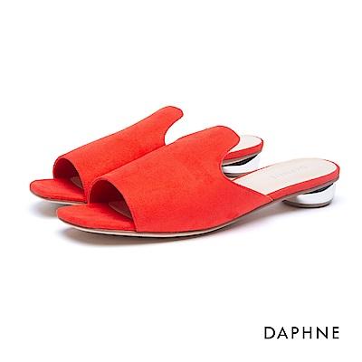 達芙妮DAPHNE 拖鞋-穆勒款絨面金屬低跟拖鞋-紅