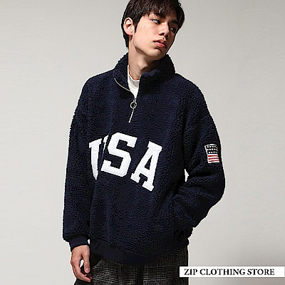 美式寬版仿羊絨套頭衫(4色) ZIP日本男裝