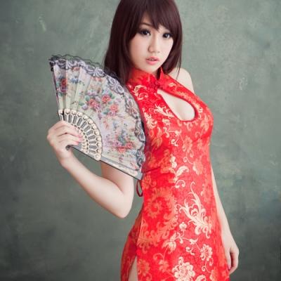 開運紅旗袍cosplay服裝~低胸爆乳中國風旗袍角色扮演服表演服*流行E線