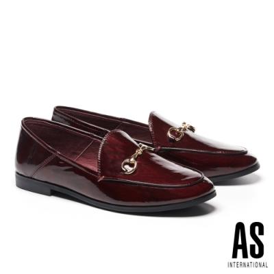 低跟鞋 AS 復刻經典時尚馬銜釦全真皮樂福低跟鞋-紅