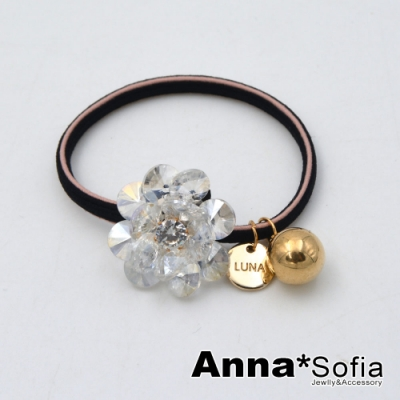 AnnaSofia 璇透晶綻花 純手工彈性髮束髮圈髮繩(透晶系)