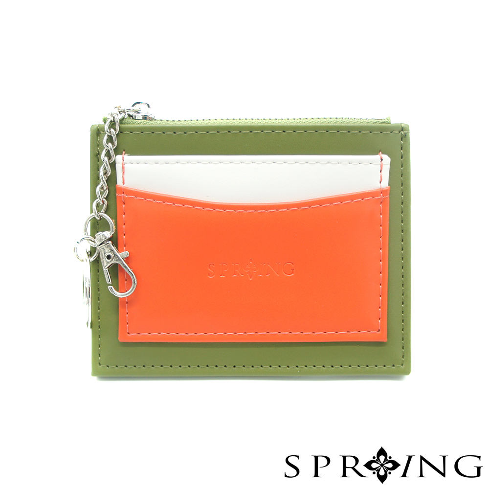 SPRING-春日卡片零錢包-墨綠x橘