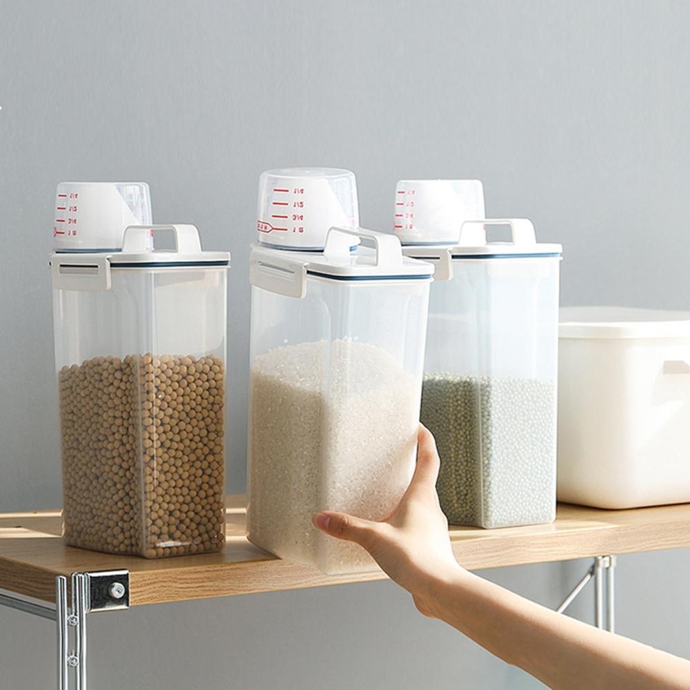 【Cap】日式五榖雜糧防潮密封罐儲物罐米桶(附量杯)