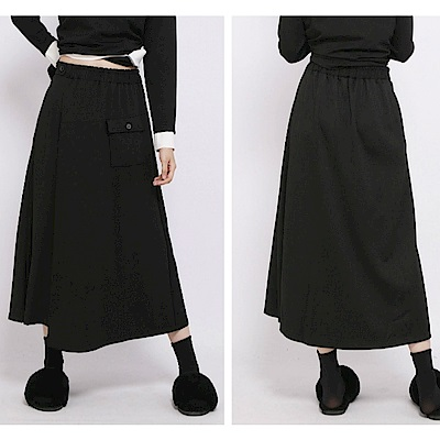 不規則港風中長素色A字裙小黑裙/設計所在120