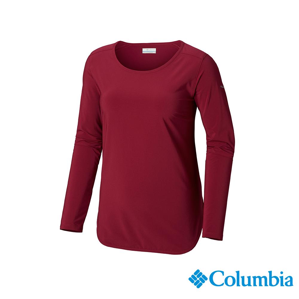 Columbia 哥倫比亞 女款-UPF30快排長袖上衣-紫紅 UAL25390PD