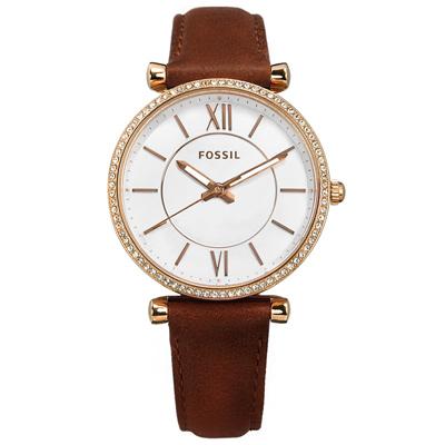FOSSIL  典雅風尚 晶鑽鑲圈 日本機芯 真皮手錶-銀白x玫瑰金框x咖啡/35mm