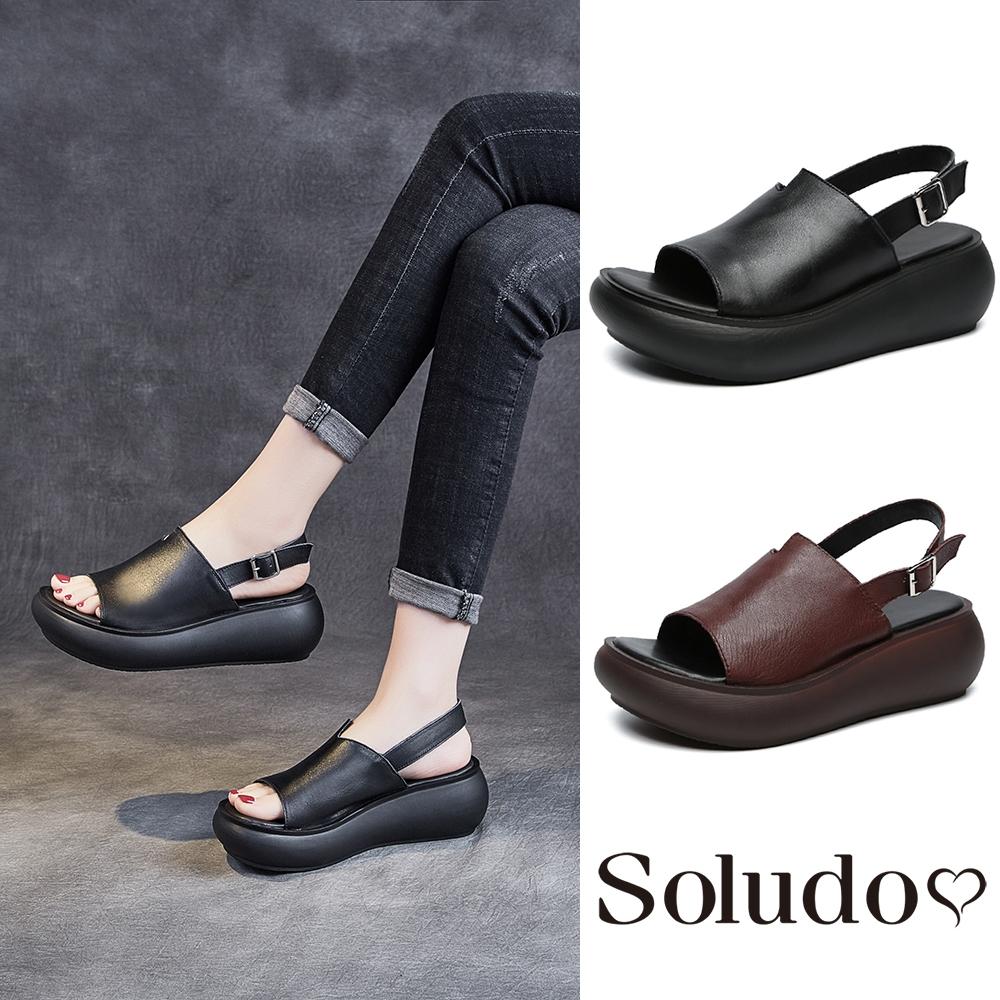 Soludos-正韓來台-簡約時尚素面百搭魚口坡跟厚底涼鞋-扣帶-增高6公分-黑/棕