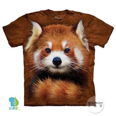 【摩達客】美國進口The Mountain 紅貓熊小熊貓 純棉環保短袖T恤