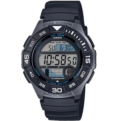 CASIO 大錶面輕量型運動電子錶-黑(WS-1100H-1A)/43mm
