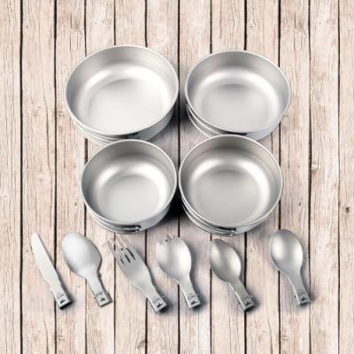 鎧斯Keith Ti5374純鈦折疊環保餐具10件組附收納袋.扣環摺疊握把湯叉匙刀子飯湯碗