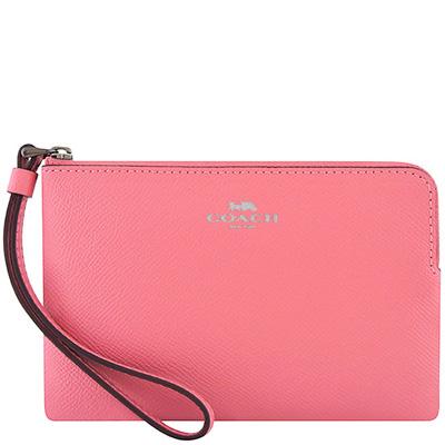 COACH 粉紅色防刮皮革手拿包