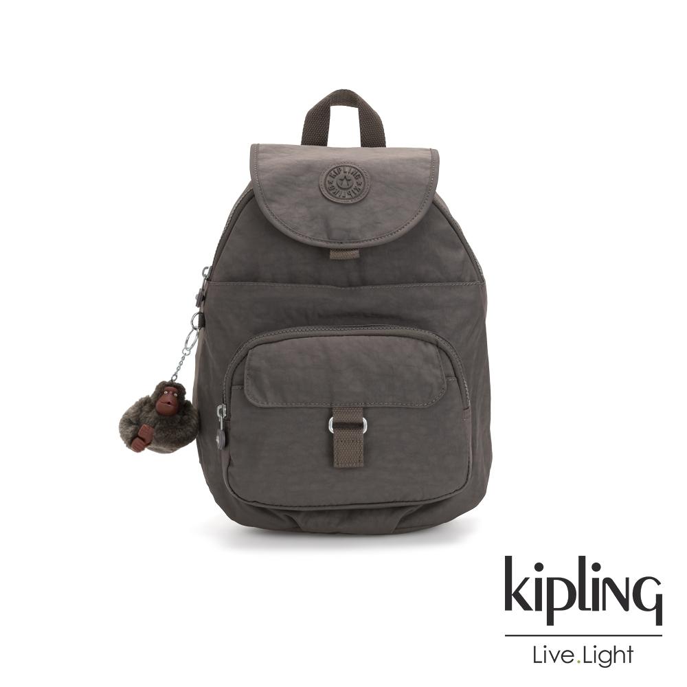 Kipling 極簡深卡其灰色前扣多隔層後背包-QUEENIE