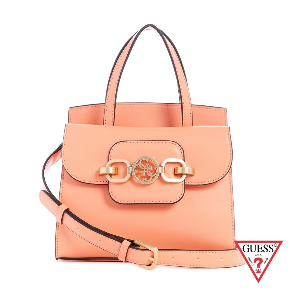 GUESS-女包-粉嫩純色飾扣肩背手提包-淺橘 原價2490