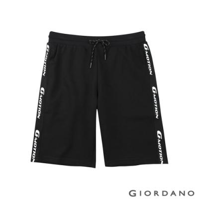 GIORDANO 男裝G-MOTION織帶設計針織短褲-91 標誌黑