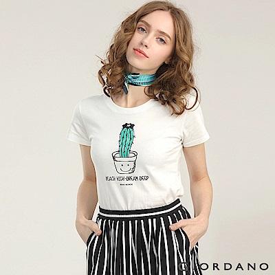GIORDANO 女裝可愛植物印花短袖T恤-61 皎雪