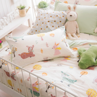 OLIVIA  小森林 黃 加大雙人床包美式枕套三件組 300織精梳純棉 台灣製