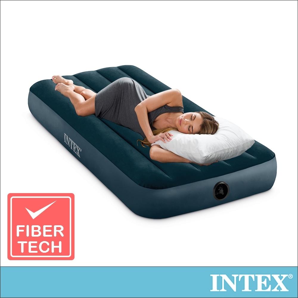 INTEX經典單人型(fiber-tech)充氣床墊(綠絨)-寬76cm(64731)