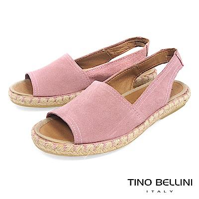 Tino Bellini 西班牙進口全真皮魚口悠活麻編平底涼鞋 _ 粉