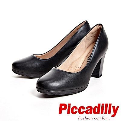 Piccadilly 專業上班族 霧面粗跟高跟女鞋-黑(另有咖)