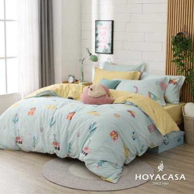 HOYACASA 童趣生活 雙人四件式純棉兩用被床包組(天絲入棉30%)