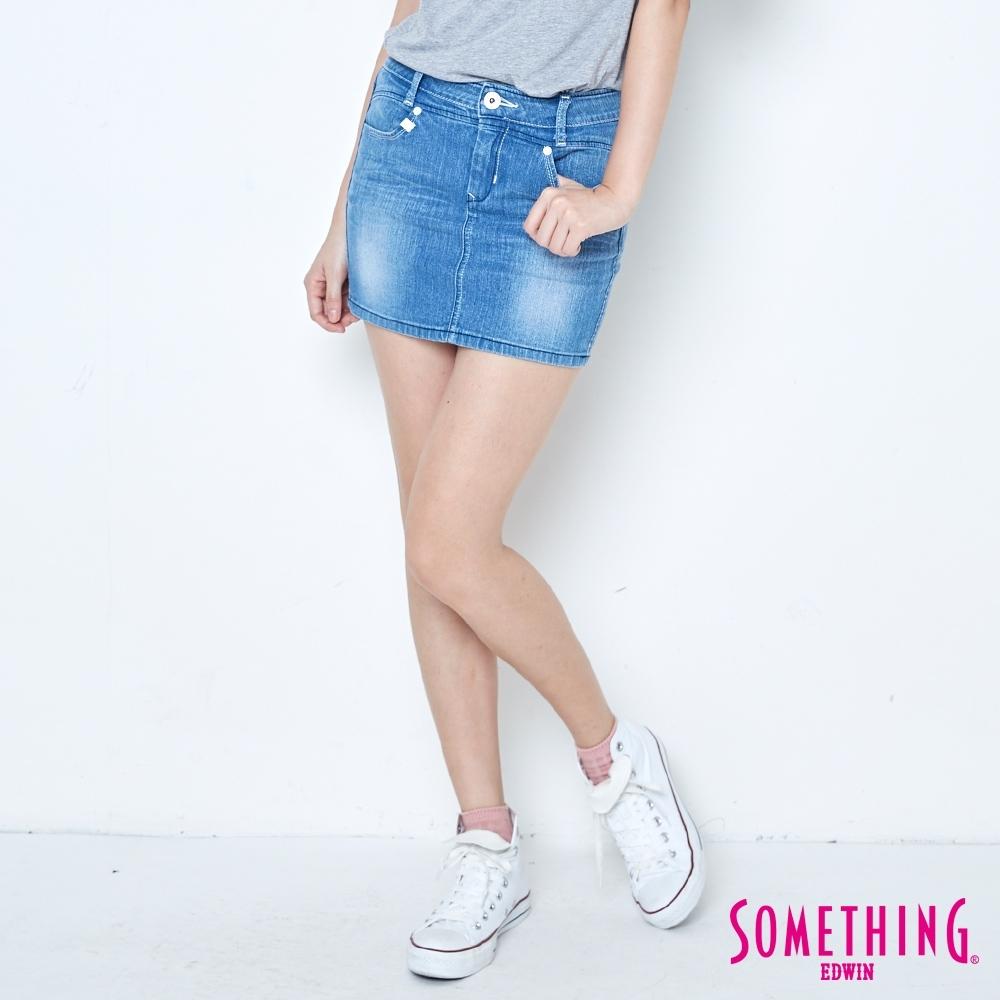 SOMETHING NEO FIT 基本牛仔短裙-女-拔洗藍