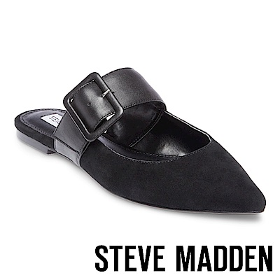 STEVE MADDEN-EFFIE經典扣飾帶尖頭涼拖-絨黑