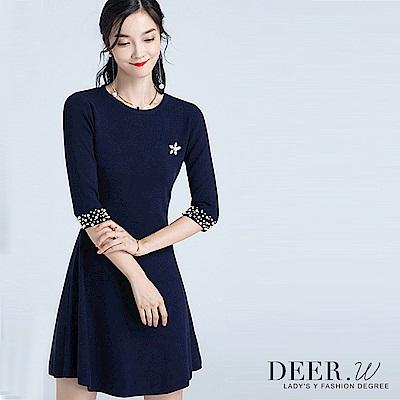 DEER.W 圓領珍珠袖針織洋裝(藏青)