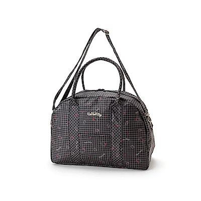 Sanrio HELLO KITTY防潑水加工輕量旅用提背袋/波士頓包(格紋小物黑)