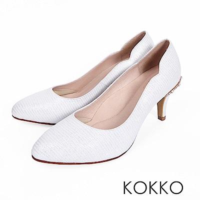 KOKKO - 華麗典藏水鑽曲線手工高跟鞋-幸福白