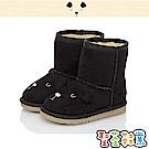 CONNIFE 保暖絨毛輕量高筒雪靴童鞋-黑
