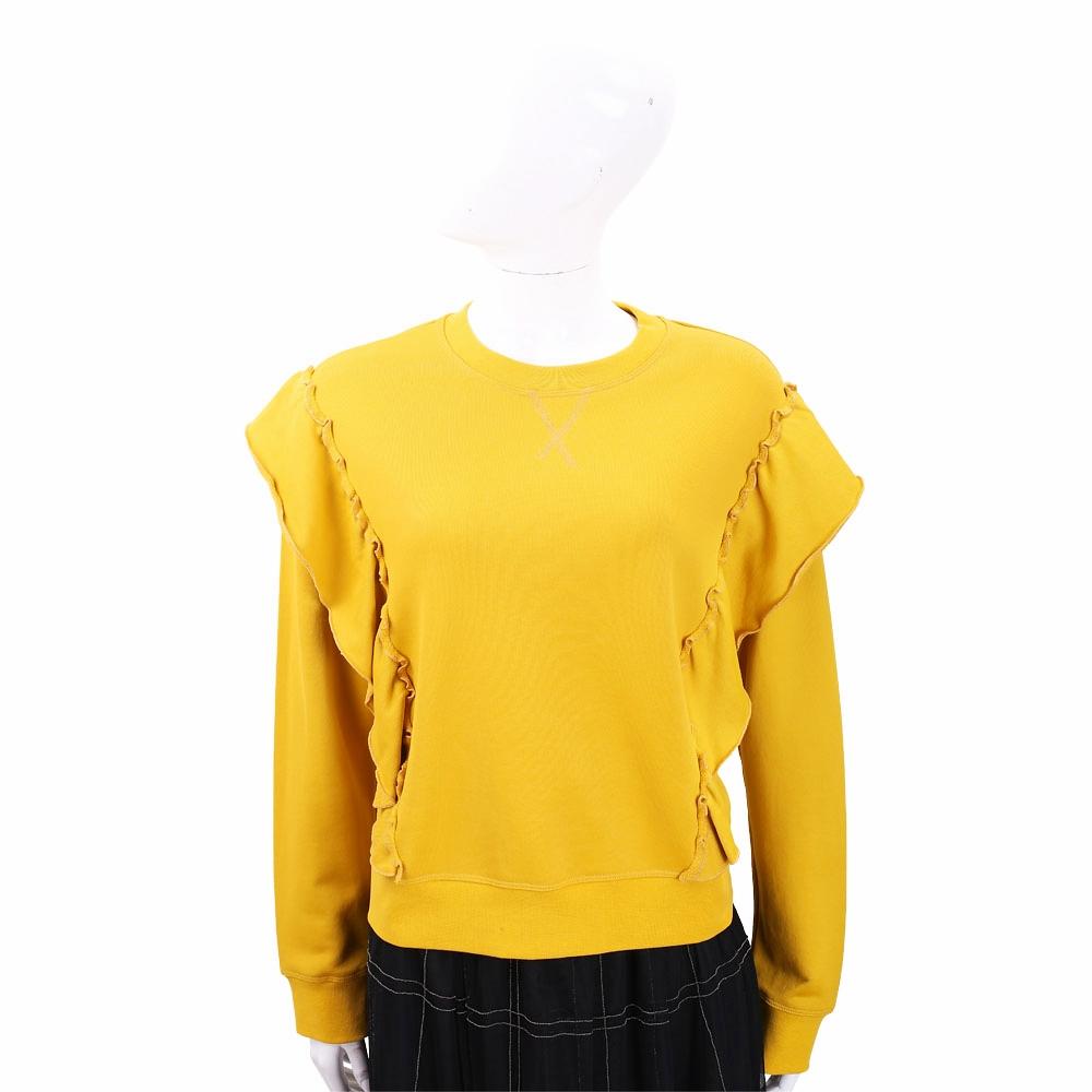 RED VALENTINO 荷葉拼接錫蘭黃棉質混紡運動衫