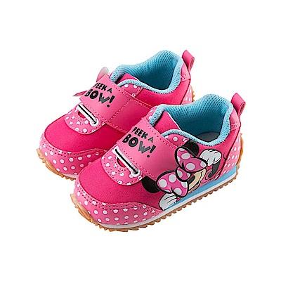 迪士尼 米妮 經典蝴蝶結造型 手工慢跑鞋-桃