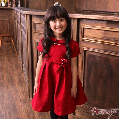 Anny高端公主花紋壓紋立體玫瑰洋裝*6220紅