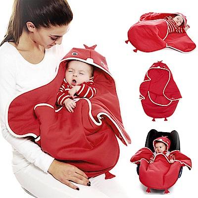 海天使輕巧連帽抱袋-可愛動物款/小雞紅
